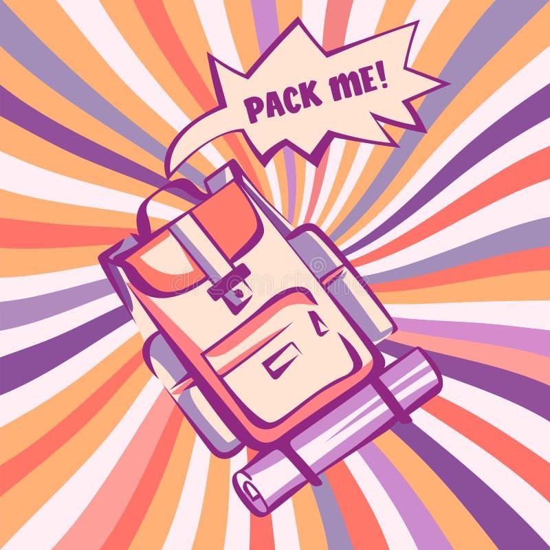 挑运,减速火箭的风格化例证 有可笑的讲话爆炸的背包和在流行艺术样式的葡萄酒五颜六色的光芒 向量 库存例证