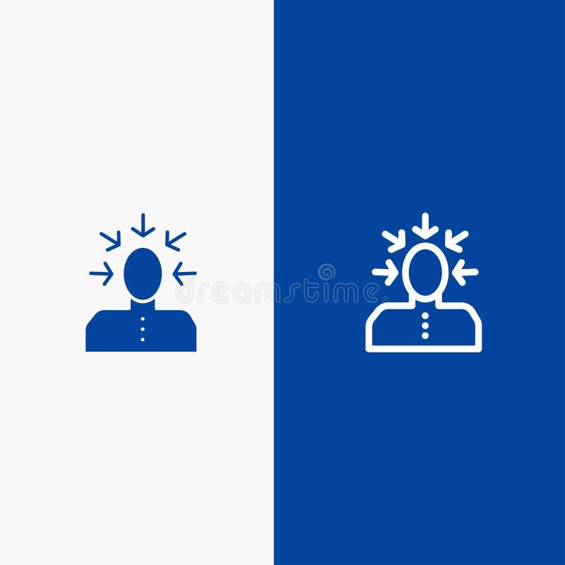 挑选,选择,批评,人,人线和纵的沟纹坚实象蓝色旗和纵的沟纹坚实象蓝色横幅 库存例证