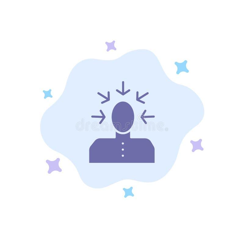 挑选,选择,批评,人,在抽象云彩背景的人蓝色象 皇族释放例证