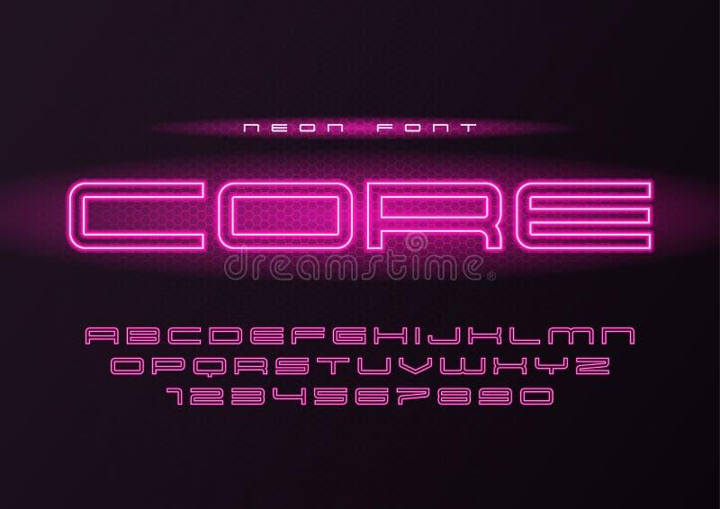 挖出果核发光的传染媒介霓虹未来派字体,字体,字母表, le 向量例证