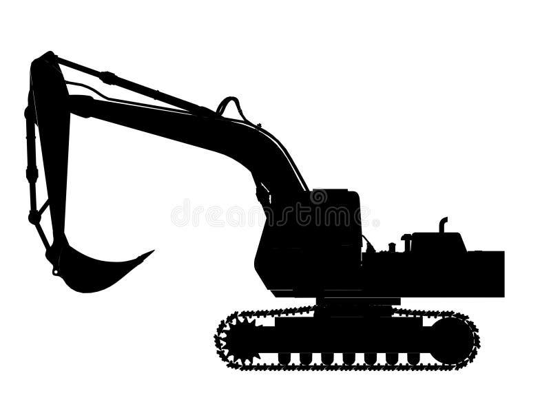 挖掘机剪影 皇族释放例证