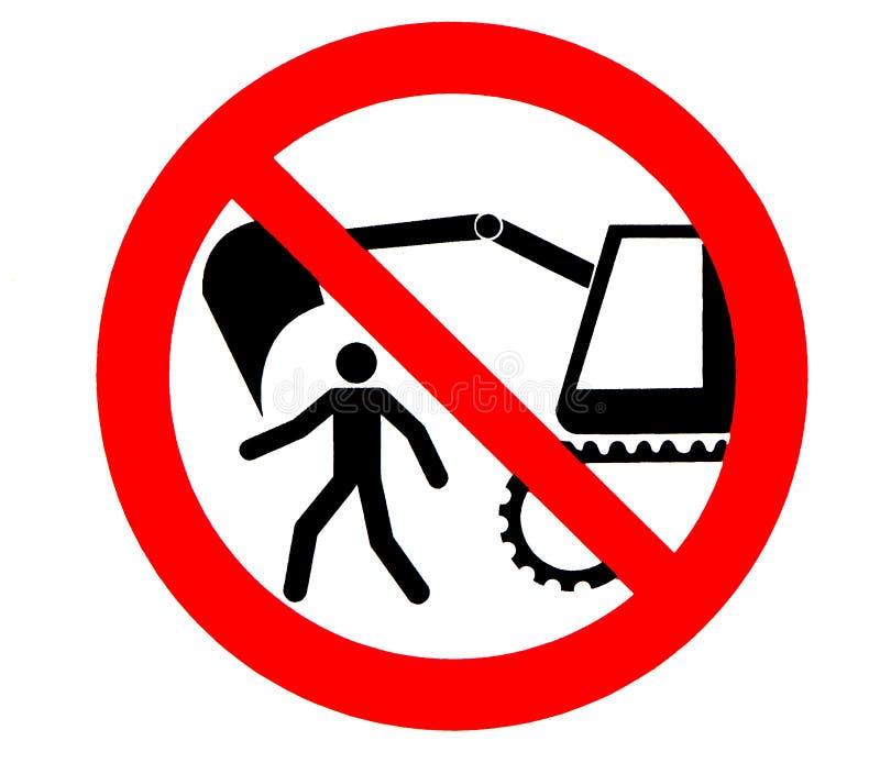 挖掘机危险标志 禁止在大量掘土的机器内的范围通过或停留 皇族释放例证