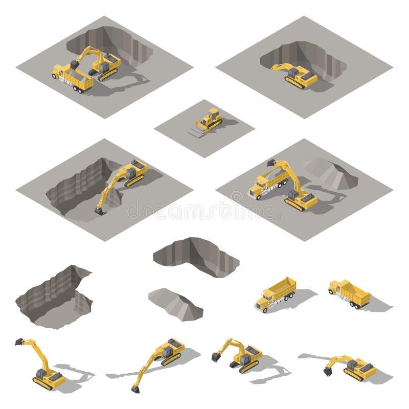 挖掘机和推土机开掘在建造场所等量象集合的一个坑 皇族释放例证