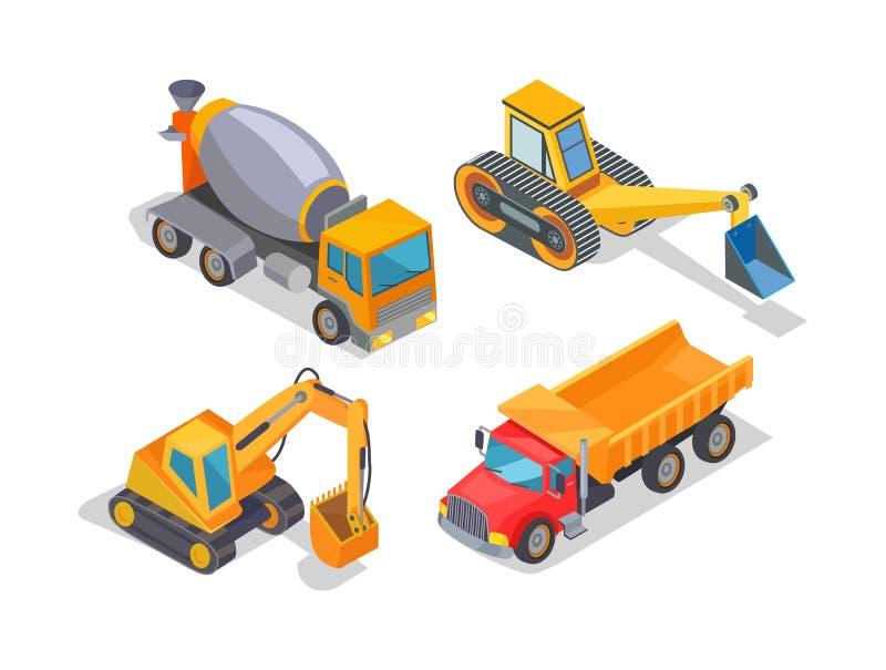 挖掘机和水泥搅拌车工业机械 皇族释放例证