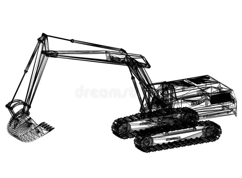 """挖掘机图纸†""""3D透视 库存例证"""