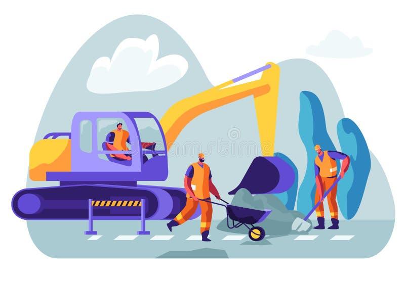 挖掘机在地面的开掘孔,男性工作者取消土壤与铁锹和独轮车 在基础的掘泥机挖掘的工作 向量例证