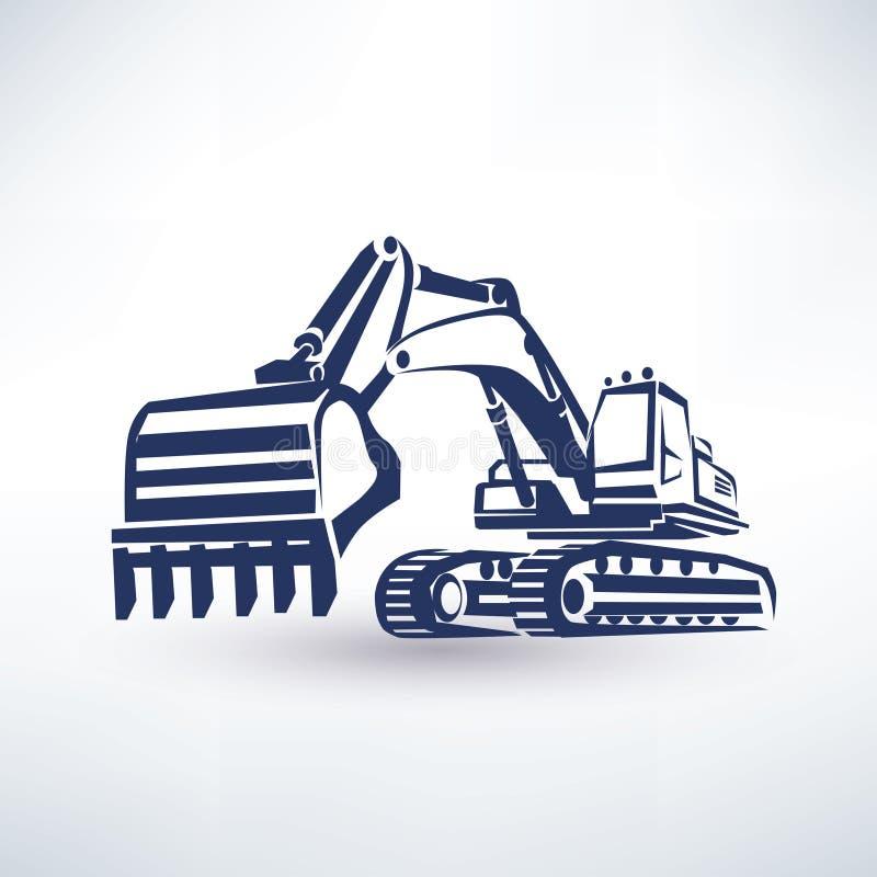 挖掘机标志 皇族释放例证