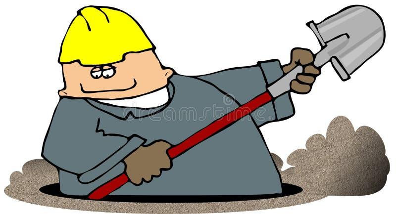 挖掘机的垄沟 库存例证