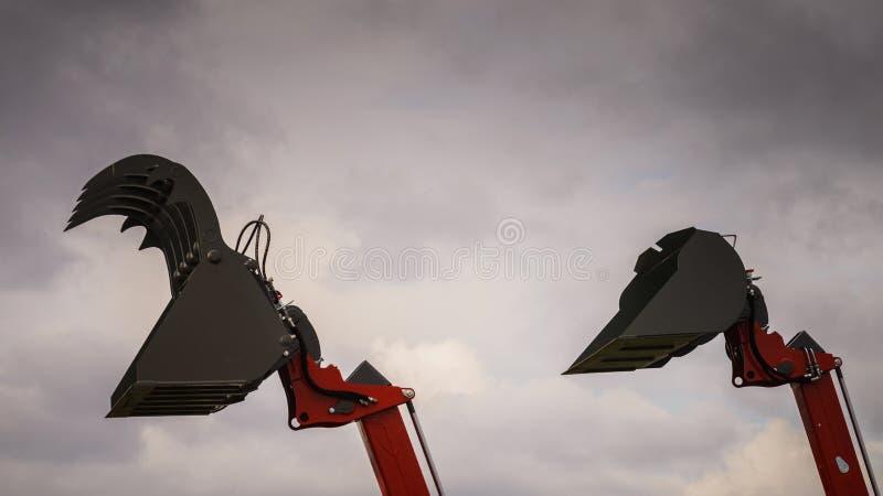 挖掘机的挖掘机桶推土机铁锹强夺者 库存图片
