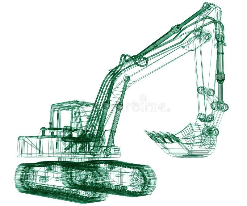 挖掘机设计 皇族释放例证