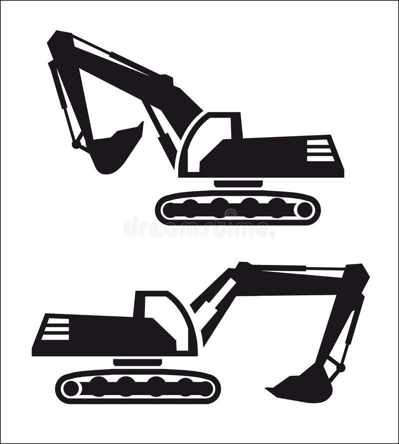 挖掘机象 向量例证