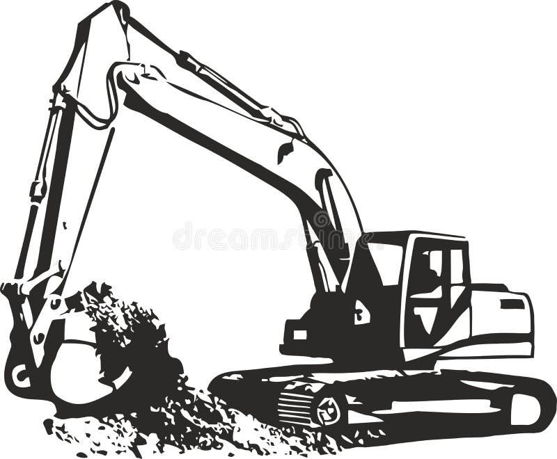 挖掘机 皇族释放例证