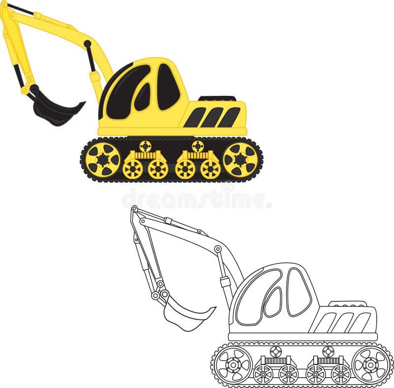 挖泥机玩具 书五颜六色的彩图例证 皇族释放例证