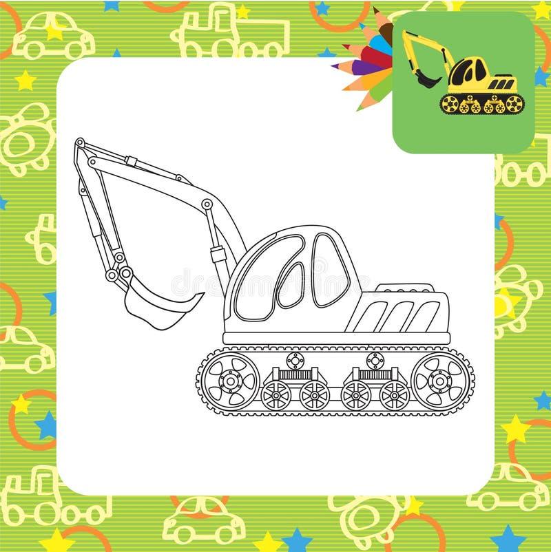 挖泥机玩具 着色页 向量例证