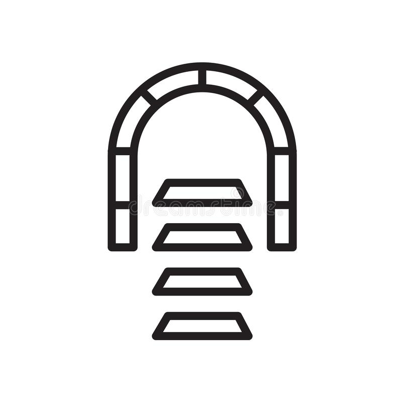 挖洞信号象在白色背景和标志隔绝的传染媒介标志,隧道信号商标概念 向量例证