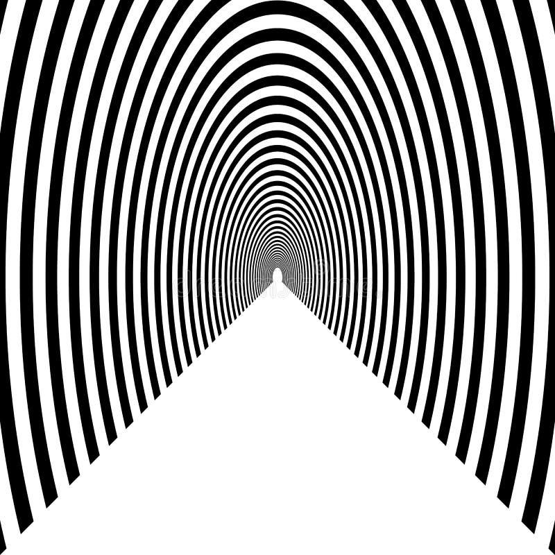 挖洞,半圆拱离开入距离的,黑色和w 库存例证