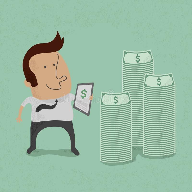 挣与片剂概念的商人金钱 库存例证