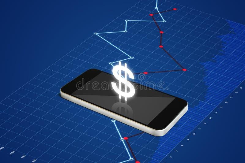 挣金钱在手机、数字式货币和电子网路银行概念 有货币符和镭的流动巧妙的电话 皇族释放例证