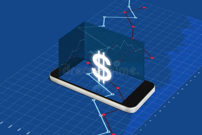 挣金钱在手机、数字式货币和电子网路银行概念 有货币符和镭的流动巧妙的电话 库存例证