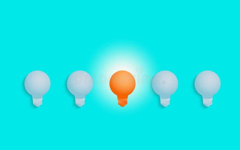 挤出立场 卓著独特橙色光电灯泡发光 库存例证
