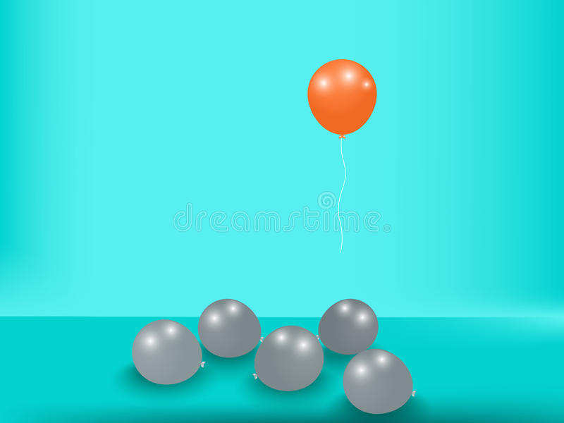 挤出立场 卓著的独特的橙色气球 企业概念查出的成功白色 向量例证