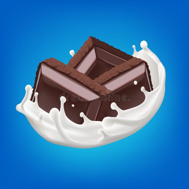 挤奶与切好的巧克力片3d传染媒介背景例证的飞溅 库存例证