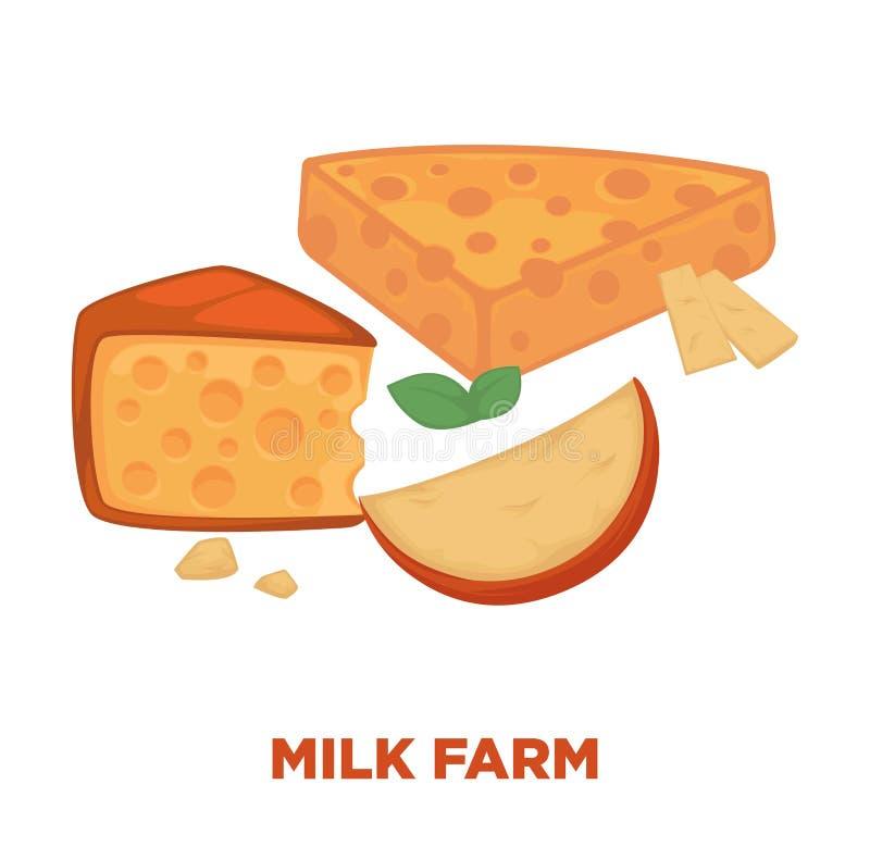 挤奶与可口乳酪段的农厂增进海报 皇族释放例证