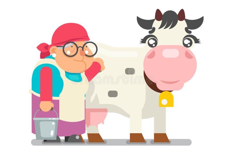 挤奶的妇女农夫老婆婆成人蓄牧者晚年妇女农民字符动画片村民隔绝了平的设计传染媒介 皇族释放例证