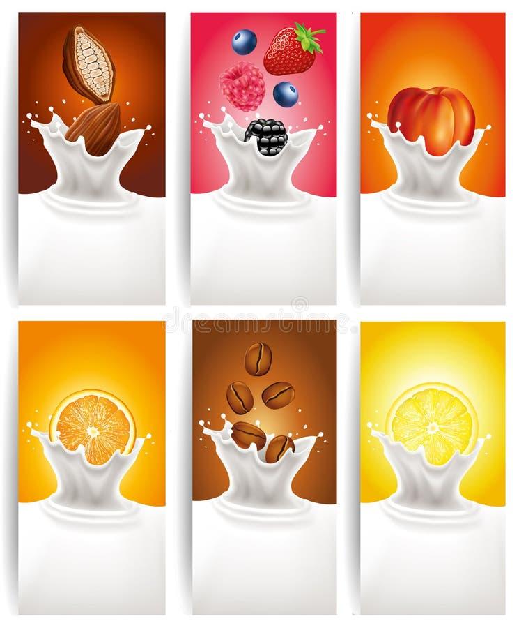 挤奶飞溅用森林果子,桃子,柠檬,桔子,咖啡 向量例证