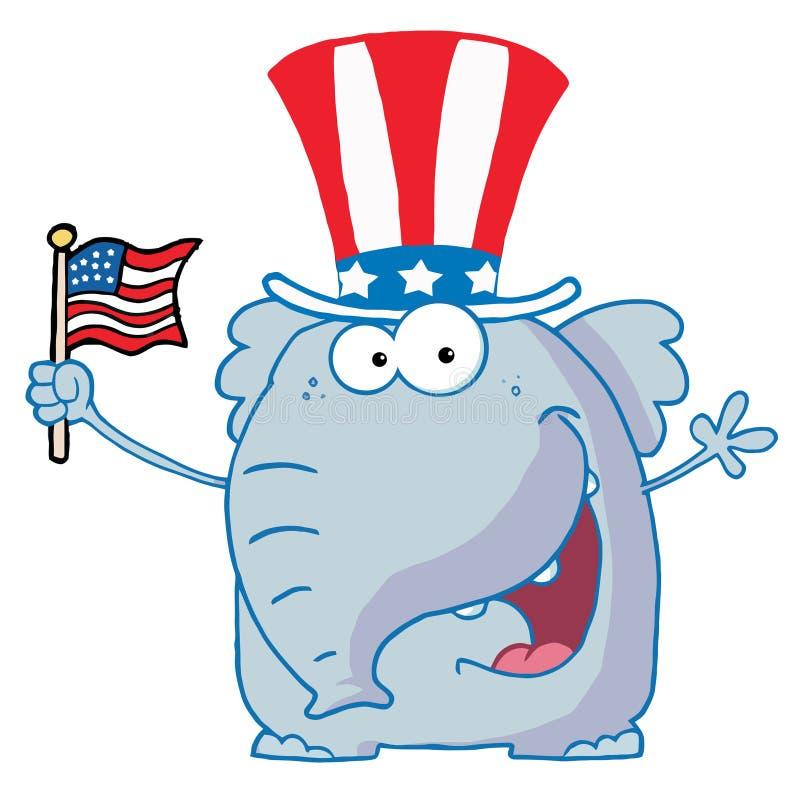 挥动一面美国国旗的大象 向量例证