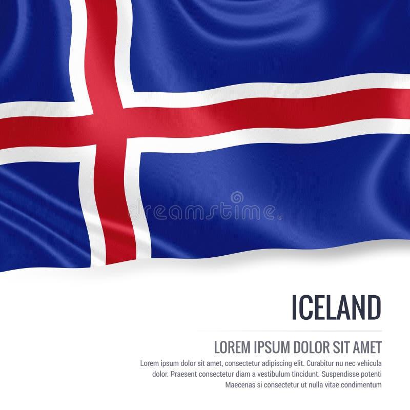 挥动在与白色正文的被隔绝的白色背景的冰岛的柔滑的旗子您的广告消息的 皇族释放例证