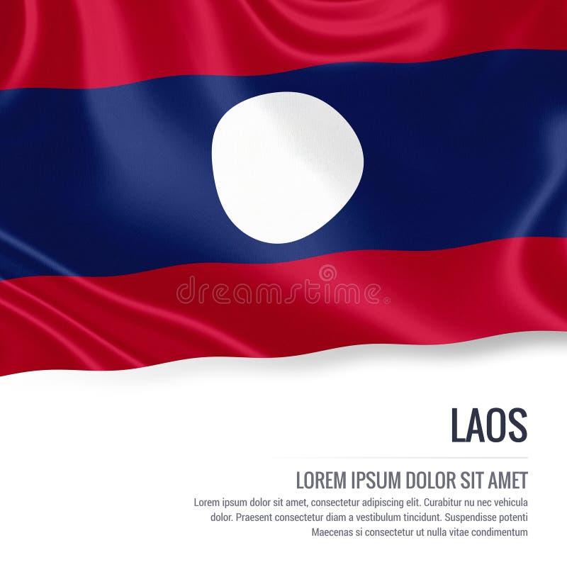 挥动在与白色正文的被隔绝的白色背景的老挝的柔滑的旗子您的广告消息的 库存例证
