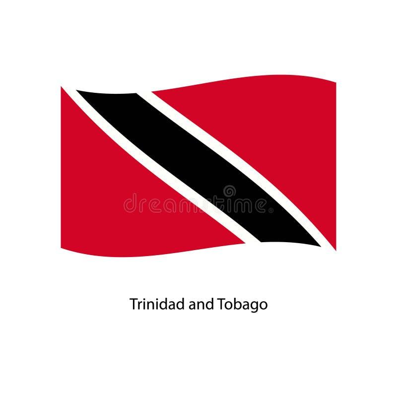 挥动在您的文本的地平线背景的特立尼达和多巴哥的旗子 库存例证