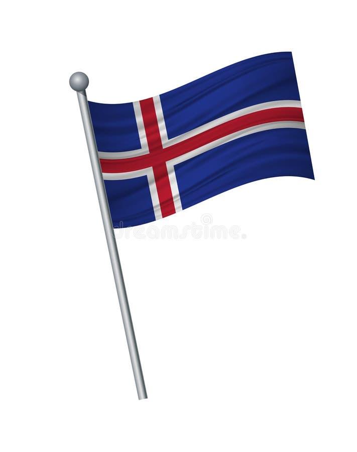 挥动在旗杆、正式颜色和比例的旗子恰当地 传染媒介在白色背景的例证孤立 皇族释放例证