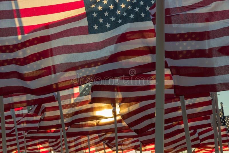 挥动在日落的美国国旗 免版税图库摄影