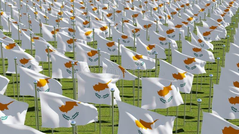 挥动在绿色领域的塞浦路斯的许多旗子 库存例证
