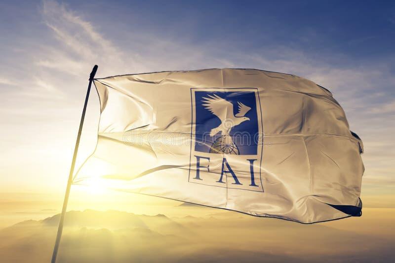 挥动在顶面日出薄雾雾的世界空气体育联盟Aeronautique国际歌FA旗子纺织品布料织品 皇族释放例证