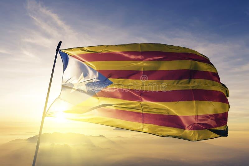 挥动在顶面日出薄雾雾的Estelada加泰罗尼亚加泰罗尼亚的共和国状态独立运动旗子纺织品布料织品 皇族释放例证