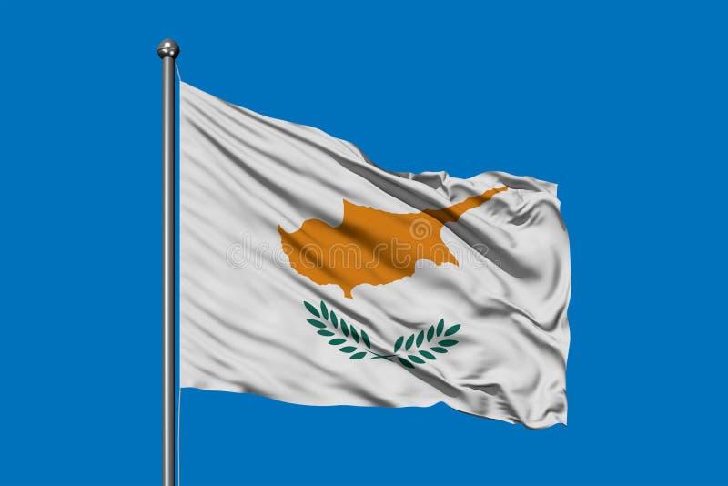 挥动在风的塞浦路斯旗子反对深天空蔚蓝 塞浦路斯的旗子 向量例证