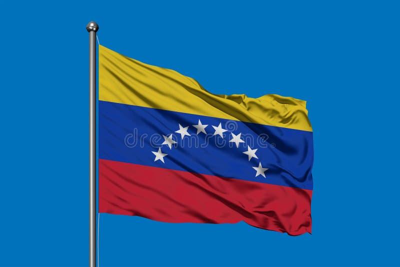 挥动在风的委内瑞拉的旗子反对深天空蔚蓝 委内瑞拉旗子 库存图片