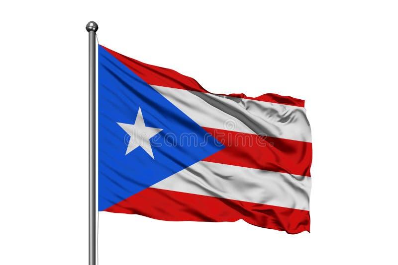 挥动在风,被隔绝的白色背景的波多黎各的旗子 免版税库存照片