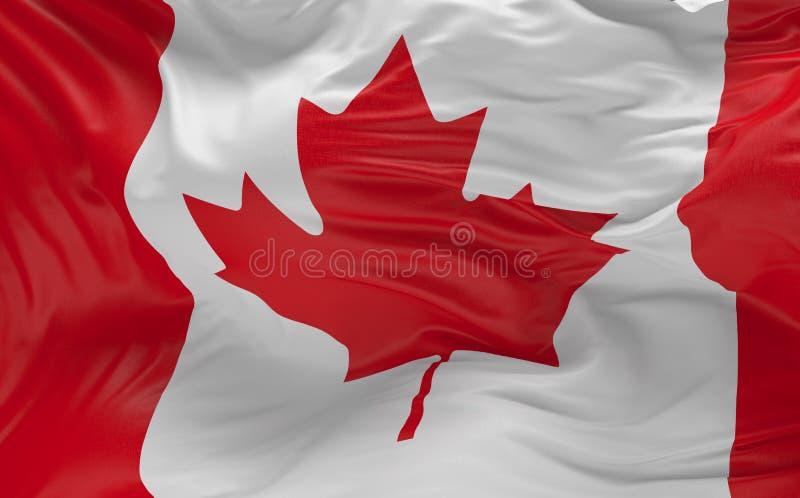挥动在风3d的加拿大的旗子回报3d回报 向量例证