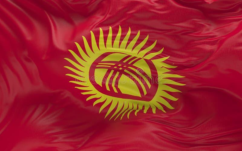 挥动在风3d的吉尔吉斯斯坦的旗子回报 皇族释放例证