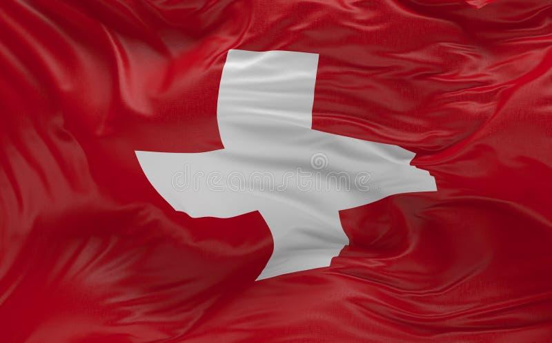 挥动在风3d的瑞士的旗子回报 库存例证
