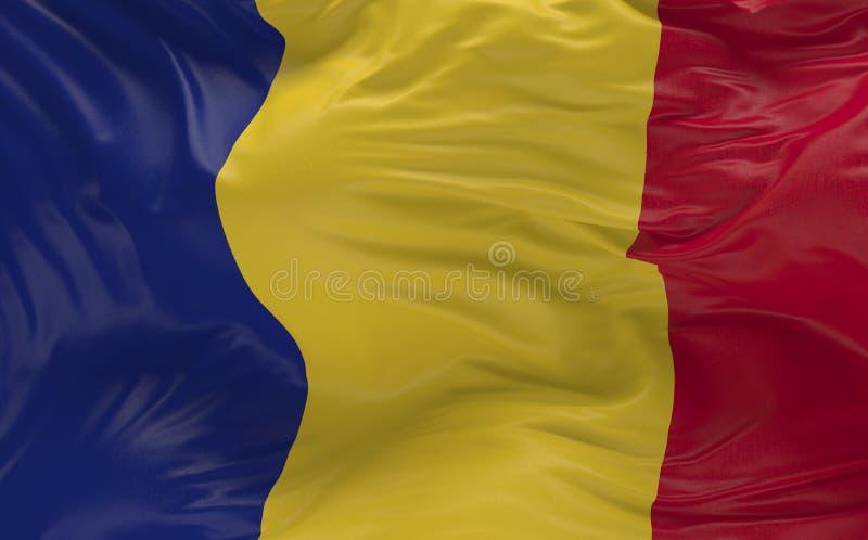 挥动在风3d的罗马尼亚的旗子回报 库存例证