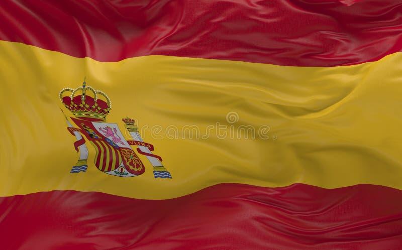 挥动在风3d的西班牙的旗子回报 向量例证