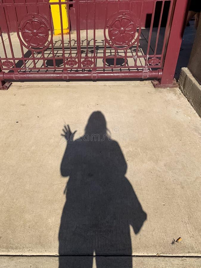挥动女实业家的阴影,当拿着袋子在夏天期间时 免版税图库摄影