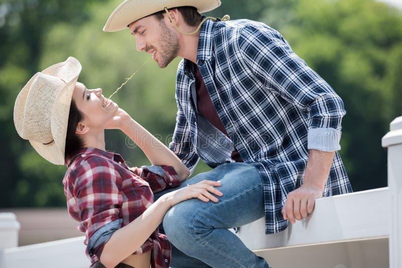 挥动微笑的牛仔样式的夫妇户外 库存图片