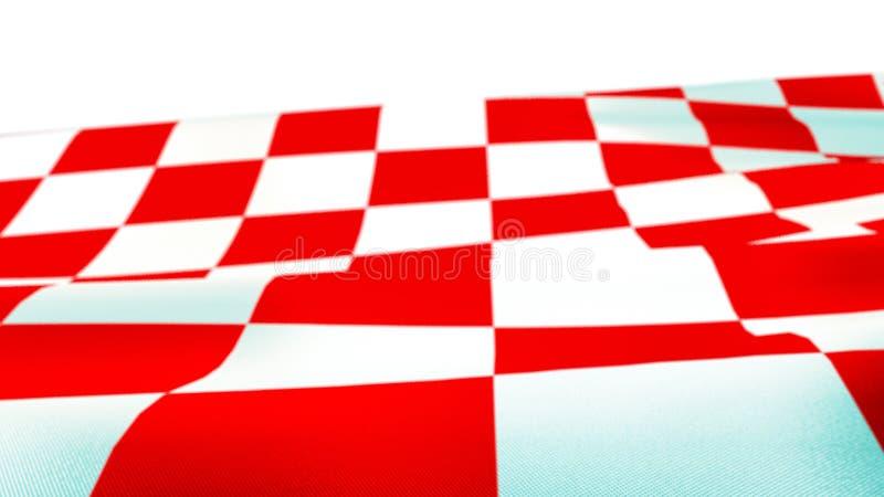 挥动旗子的克罗地亚红色和白方块 库存照片