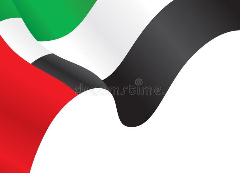 挥动旗子背景的阿拉伯联合酋长国 向量例证